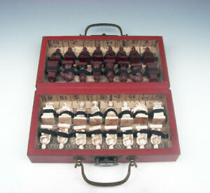 Chess Game Set 32 Terracotta Warrior Pieces Wood Carry Box Board & Brass Handles