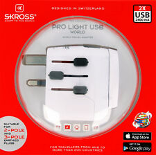 SKROSS® world travel adapter connect 2- and 3-pole deices PRO Light USB - World