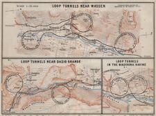 ST GOTTHARD RAILWAY SPIRAL/LOOP TUNNELS Wassen Freggio Prato Biaschina 1909 map