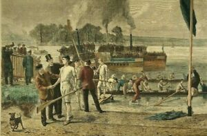 """1892 LISTED UK Artist SYDNEY P HALL Sd COLORED ENGRAVING BOAT RACE """"VICTORY"""""""