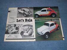"1964 Volkswagen Baja Bug Vintage Article ""Let's Baja"" VW"