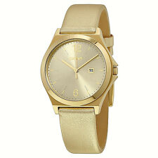 NWT DKNY Women's Watch All Yellow Gold Leather & Gold SS Case Date NY2371 $155