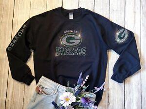 New Unisex Green Bay Packers Rhinestone Bling Crewneck Sweatshirt Size Small