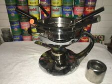 Unusal COPCO Stainless Steel Space Age FONDUE Set w/ 2 Sterno Holders & 5 Forks