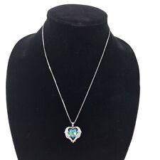 Womens Cubic Zirconia Heart Necklace Silver Blue Pendant Crystal Rhinestones