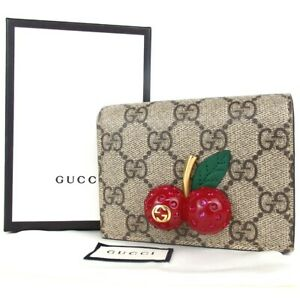 Authentic GUCCI 476050 GG Supreme Cherry Compact Wallet wallet PVCx leather[...