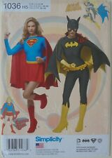 Simplicity 1036 Misses Super Girl Bat Woman Costume Sewing Pattern Sz 6-14