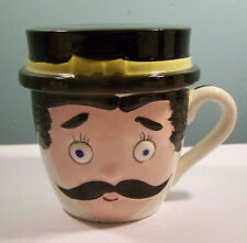 Vintage Ceramic Hand Painted Man Face Cup With Lid for Pop Only Japan
