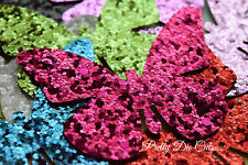 Glitter Fabric Butterflies (4) Die Cut Craft Embellishments