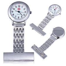 Mini Women Fashion Stainless Steel Nurse Watch Silver Quartz Fob Pocket Brooch#L