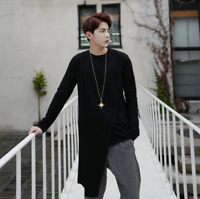 Mens Asymmetric Round Neck Polyester Loose Hip-Hop Tops Casual T-Shirt Solid