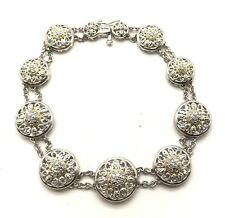 Sterling Silver Two Tone Diamond Flower Round Double Chain Swirl Tennis Bracelet