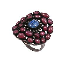 Natural Burmese Ruby Tanzania Tanzanite Diamond 925 Sterling Silver Ring R-205