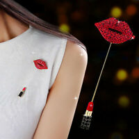 RED LIPS LIPSTICK RHINESTONE INLAID BROOCH PIN WOMEN SHAWL BREASTPIN FADDISH