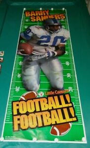 Vintage BARRY SANDERS DETROIT LIONS,1996, Little Caesars, 75 X 26, door Poster