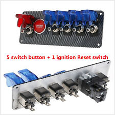 Universal 12V Racing Car Ignition Switch + 4 Blue &1 Red LED Toggle Button Panel