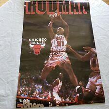 "Dennis Rodman Autograph Chicago Bulls Poster 22.5"" x 35"" very good condition"