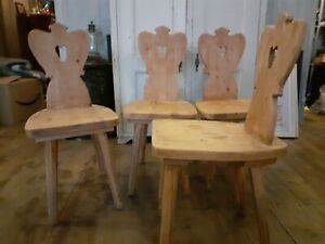 set of four vintage swedish / gustavian pine heart chairs