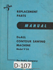 Doall V-16, Contour Saw Parts Manual 1938 and up