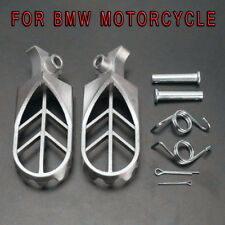 2X Stainless steel Front Foot Peg Footrest Silver Universal For BMW Motorcycle