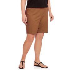 Just My Size Women's Plus Size Cotton/Spandex Shorts Brown 4X  26W/28W w Pockets