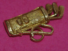 Vintage 9ct Gold Golf Bag with Moving Clubs Charm For Bracelet