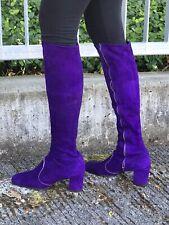 Super Purple Suede 1970's Zip Side GoGo Boots, Size 8M