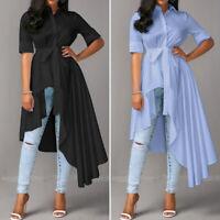 Women Buttons Asymmetrical Waterfall Shirt Tops Tunics Blouse High Low Swing Top