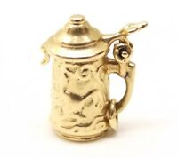 Details about  /Real 14kt Yellow Gold 3-D Beer Stein Lid Opens Charm