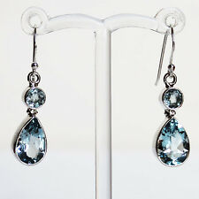 925 Sterling Silver Semi-Precious Faceted Blue Topaz Drop Earrings