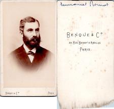 CDV, Benque, Paris, Un homme nommé Emmanuel Bonnet, circa 1890 Vintage CDV album