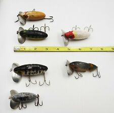 Lot of 6VINTAGE Fred Arbogast JITTERBUG Wood Fishing Lures Assorted Sizes Colors