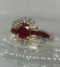 14k Yellow Gold Ruby and Diamond Ring, Authenticated And Appraised for $899