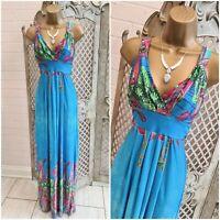 NEW YORK LAUNDRY UK M Blue Tropical Print Slinky Stretch Maxi Dress Summer