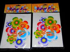 12 Let's Party Note Card Flowers Bright Colors Invitations With Envelopes