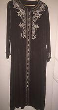 NEW Moroccan Djellaba Dress - Colour: Chocolate Brown & Cream - Size: L/XL