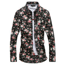 Men's Hawaii Floral Casual Shirt Long Sleeve Luxury Slim Fit Dress Shirts Tops