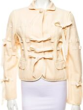 MOSCHINO WOOL CROPPED IVORY COLOR RIBBON BOW JACKET TOP  US8  IT42  MEDIUM