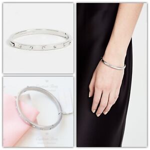 Kate Spade Set In Stone Hinged Bangle Clear & Silver Bracelet NWT