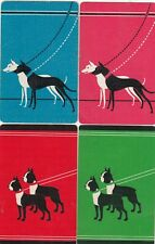 DOGS  - 4 old    single vintage swap playing cards