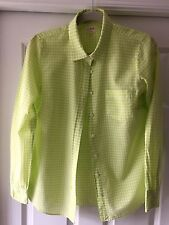 """J Crew """"The Perfect Shirt"""" Green Gingham Plaid Checked  Buttoned Blouse SZ XS"""