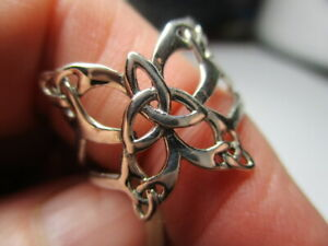 STERLING SILVER 925 NEW MULTI TRIQUETRA CELTIC OPEN BUTTERFLY RING SIZE 8 NWT