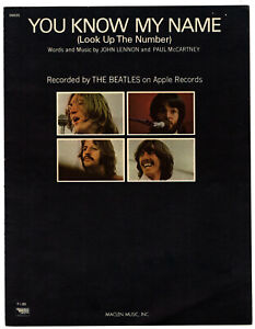 THE BEATLES 1967 sheet music YOU KNOW MY NAME (Look Up The Number) rare