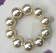 LARGE CHUNKY 20mm FAUX PEARL ROUND BEAD BALLS  STRETCH  BRACELET