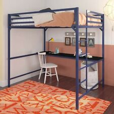 Teens, Boys & Girls: DHP Miles Full Metal Loft Bed Frame with Desk With Mattress