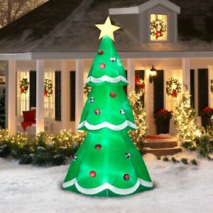 Large Christmas Tree 10ft Outdoor Yard Inflatable Lawn Decor Holiday Blow Up Grn