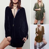 Long Sleeve Women's Velvet Micro Mini Shirt Dress Oversized Tops Blouse Tunics