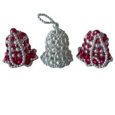 Lot of 3 Vintage Handmade Ivory Hot Pink Pearl Bells Christmas Hanging Ornaments