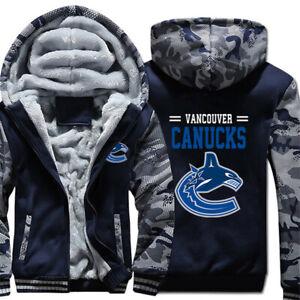 VANCOUVER CANUCKS Men's Thick Fleece Jacket Hooded HOCKEY Team Logo Jackets NEW
