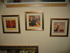 REDUCED MARK SPAIN Set of 3 Gorgeous Pictures in lovely 9x9 inch Gold Frames